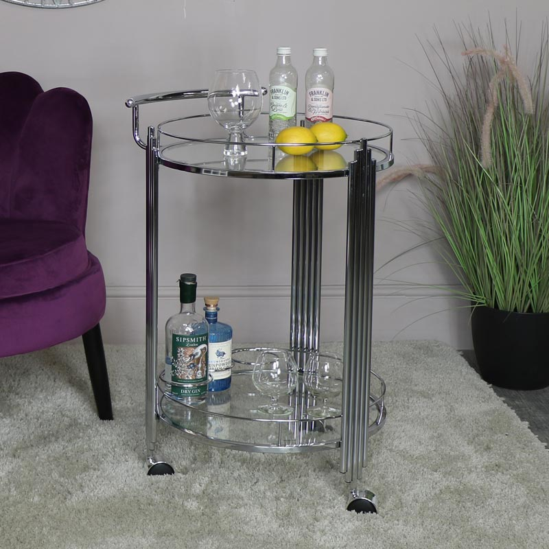 Silver Mirrored Drinks Trolley