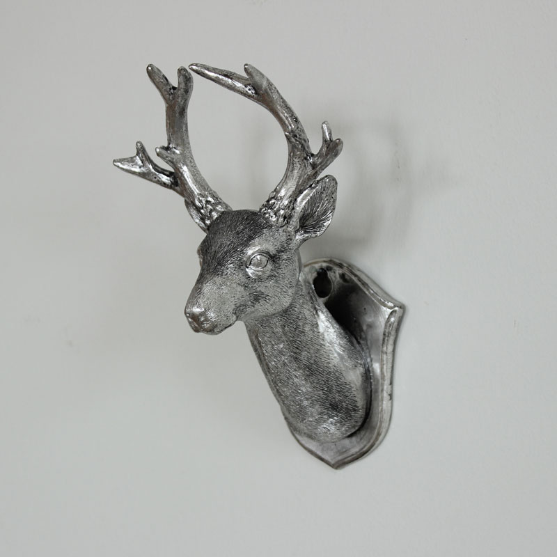 Silver Metal Stag Reindeer Head Wall Plaque Mounted Home