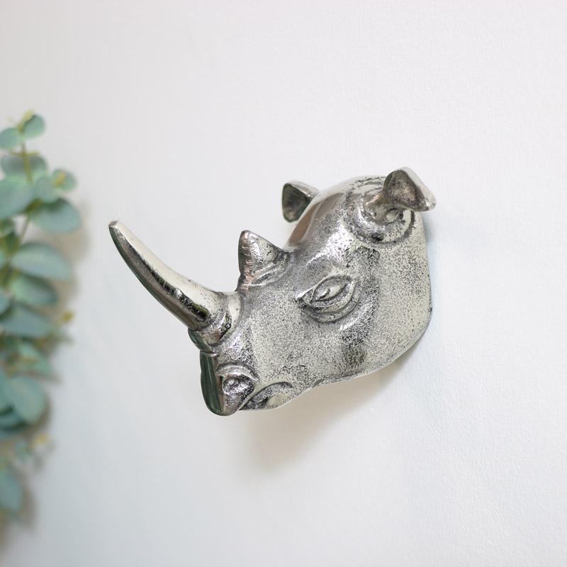 Silver Rhino Wall Hook