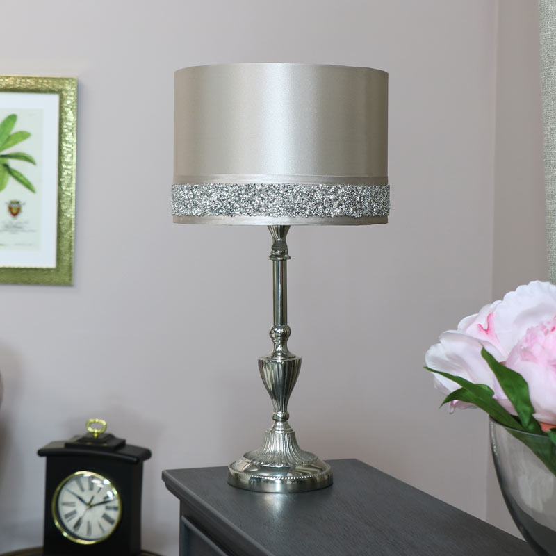 Silver Table Lamp with Pink Glitter Shade