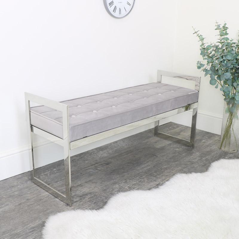 Silver Velvet Bench