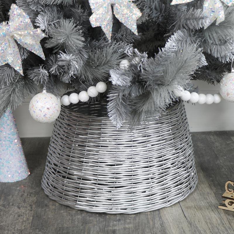 Silver Wicker Wooden Tree Skirt