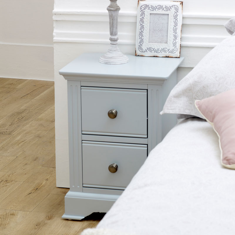 Slim Grey Bedside Table - Davenport Grey Range
