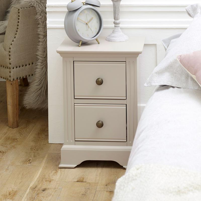 Slim Taupe-Grey Bedside Table - Davenport Grey Range