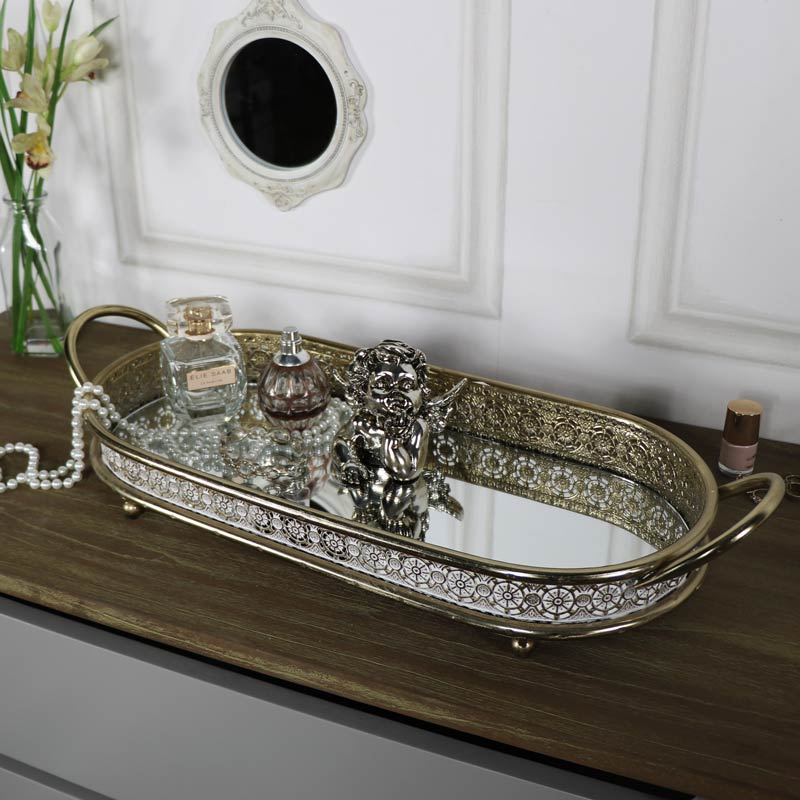 Small Antique Gold Mirrored Cocktail Tray