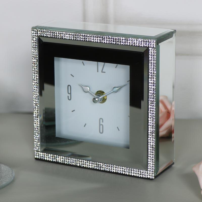 Small Diamante Mirrored Mantel Clock