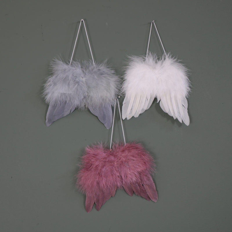 Small feather angel wings hanging decoration melody maison for Angel wings wall decoration uk