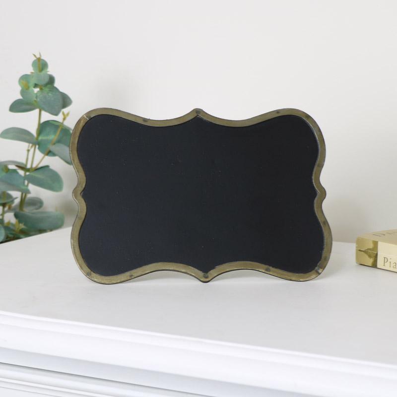 Small Freestanding Brass Chalkboard
