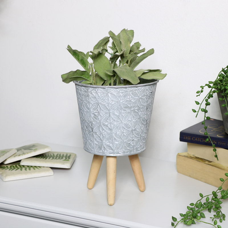 Small Grey Metal Planter