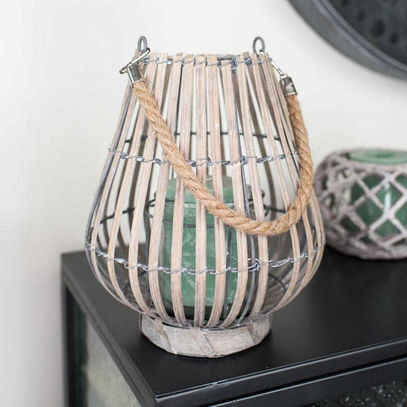 Small Grey Willow Candle Lantern
