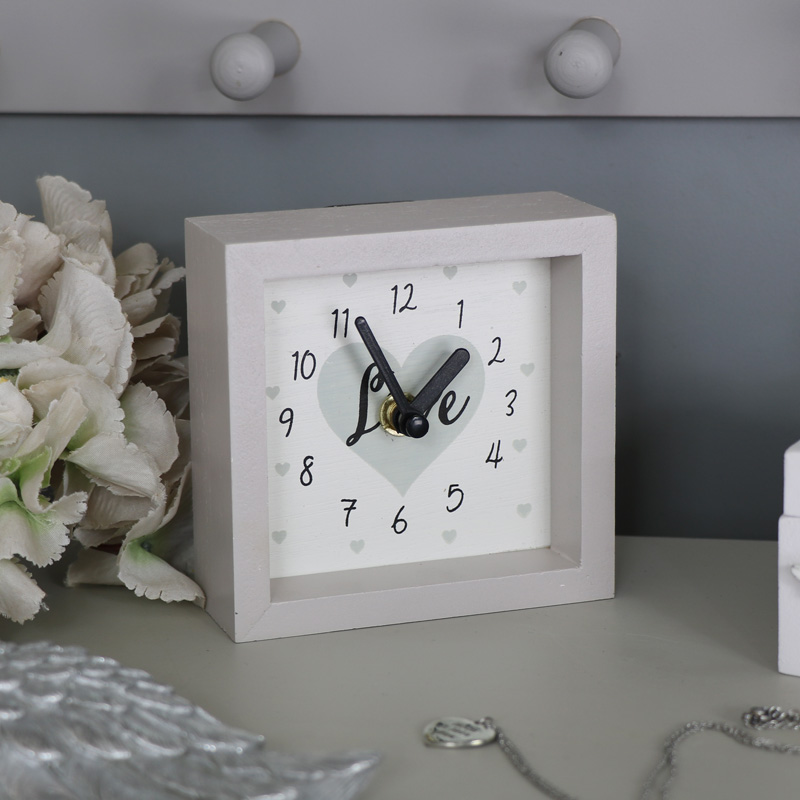 small grey wooden wall mantel clock melody maison. Black Bedroom Furniture Sets. Home Design Ideas
