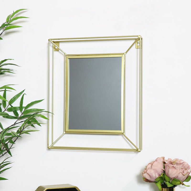 Small Gold Metal Wire Wall Mirror 30cm x 35cm