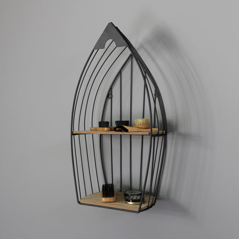 small metal wall mounted boat shelving unit melody maison. Black Bedroom Furniture Sets. Home Design Ideas