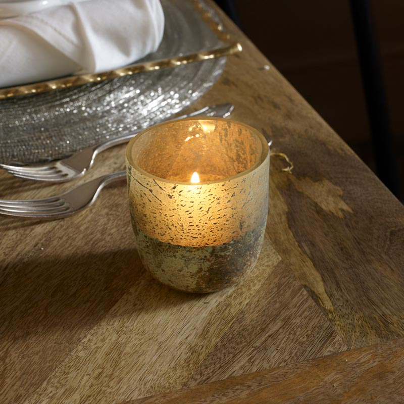 Small Metallic Glass Candle Holder