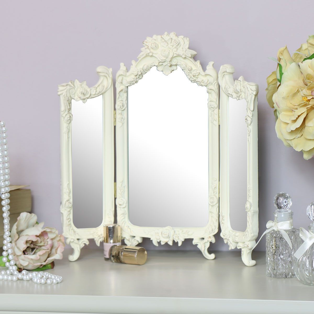 Small Ornate Rose Triple Mirror  - 38cm x 38cm