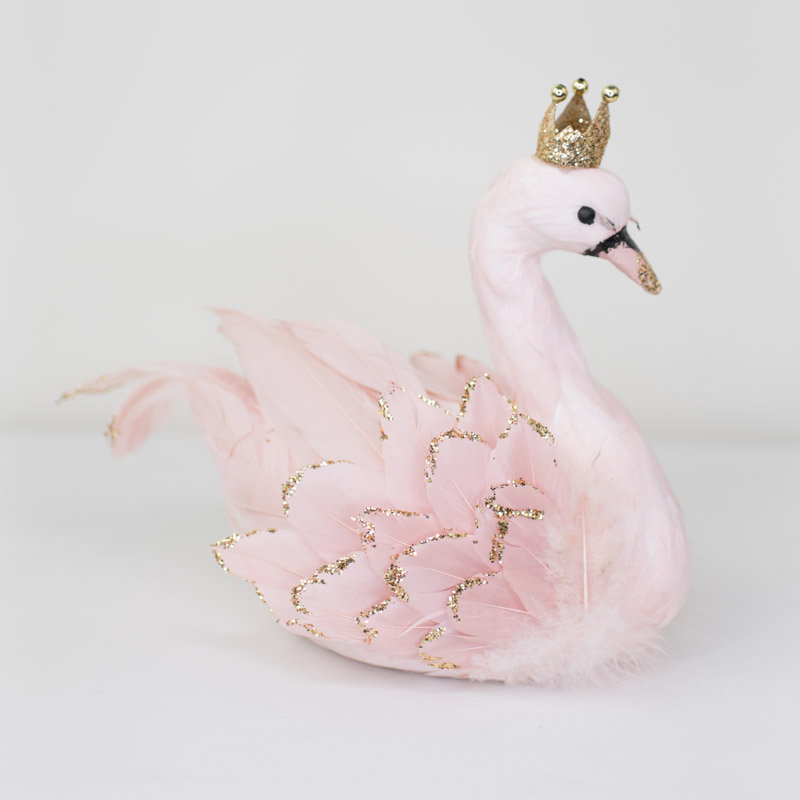 Small Pink Feather Crowned Swan