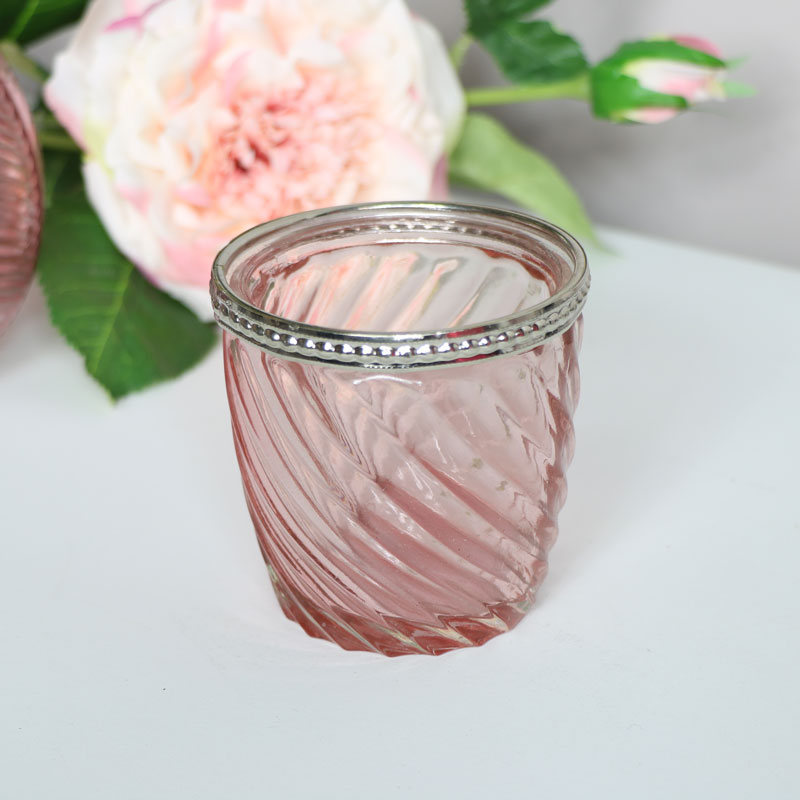 Small Pink Glass Swirl Candle Holder