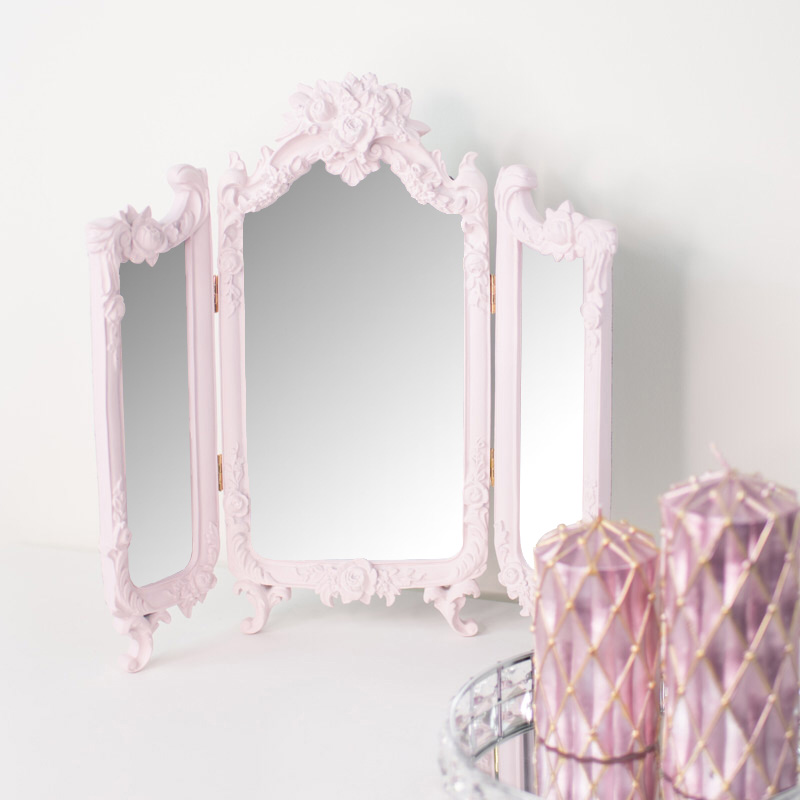Small Pink Ornate Rose Triple Mirror - 37cm x 38cm