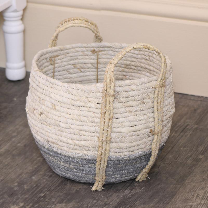 Small Round White & Grey Seagrass Basket/Waste Bin
