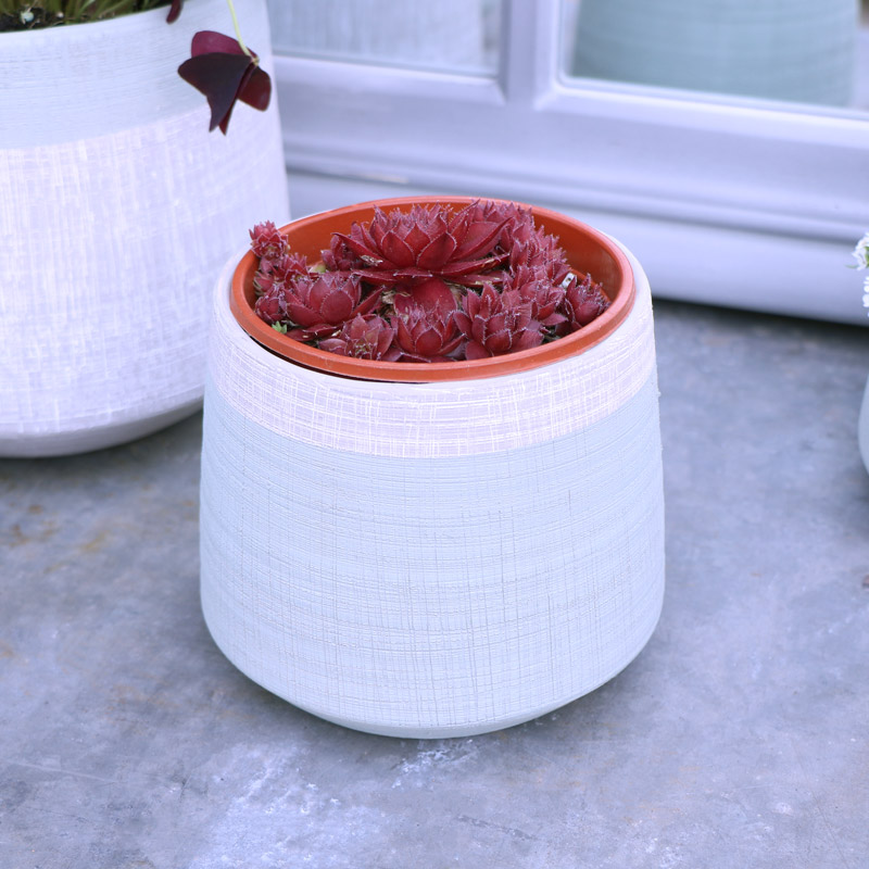 Small Tall Grey & Green Planter Pot