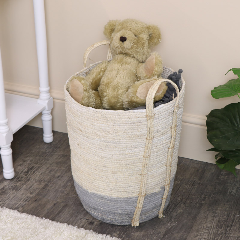 Small Tall White & Grey Seagrass Basket/Toy Box