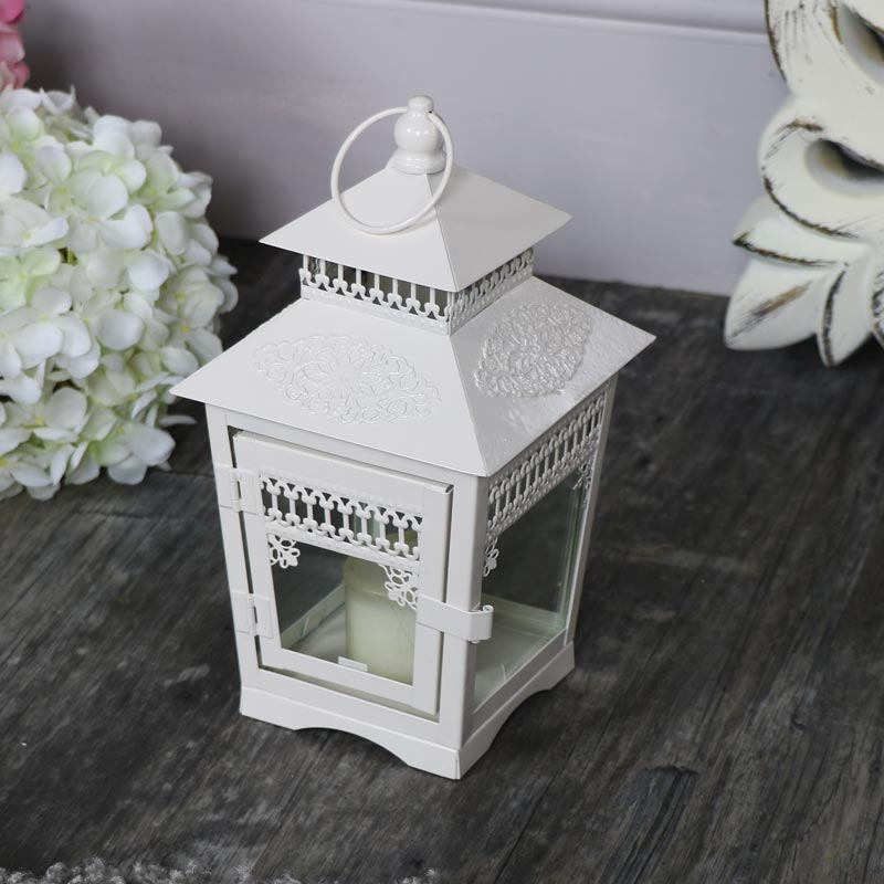 Small Vintage Cream Candle Lantern