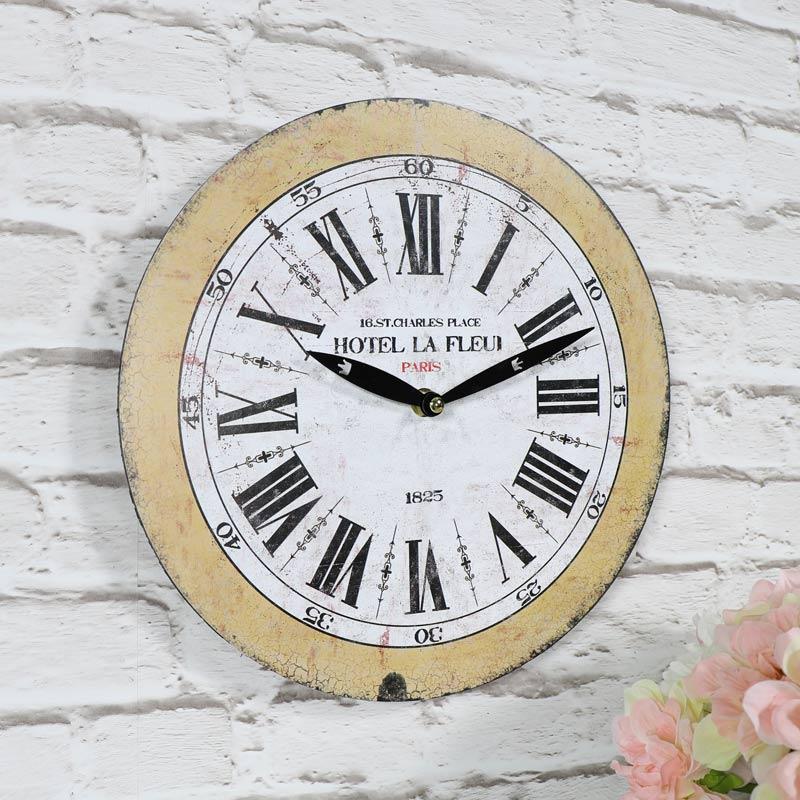 petit vintage fran ais horloge murale rustique r tro chic campagne cuisine ebay. Black Bedroom Furniture Sets. Home Design Ideas
