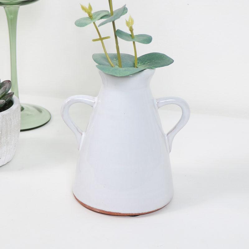 Small White Ceramic Jug Style Candle Holder