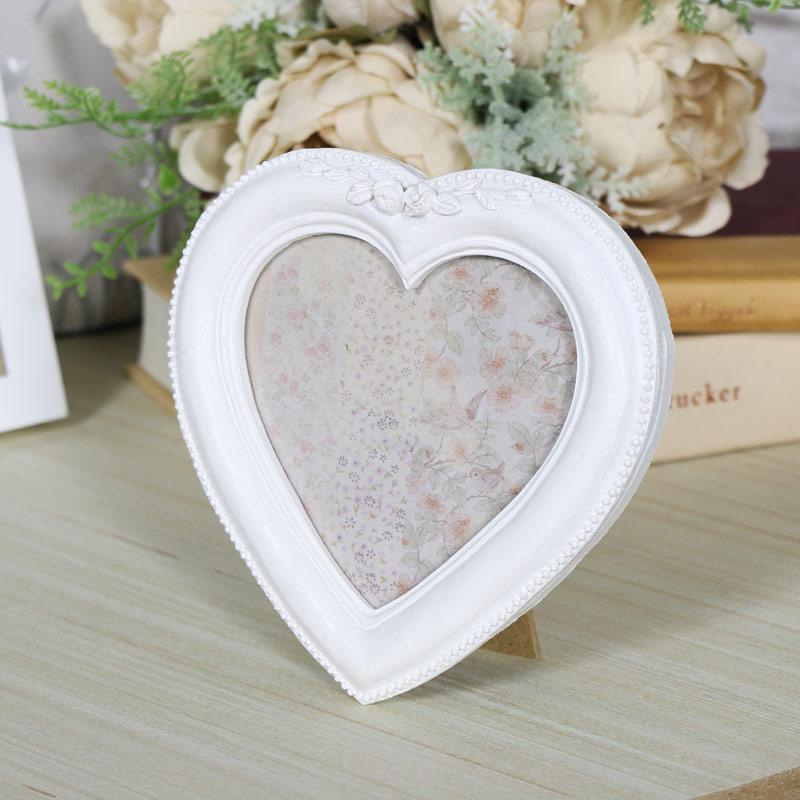 Small White Heart Photograph Frame