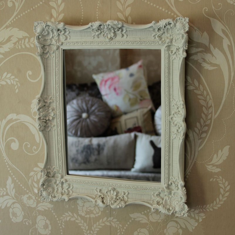 Small white ornate rocco wall bathroom mirror square chic for White bedroom wall mirror