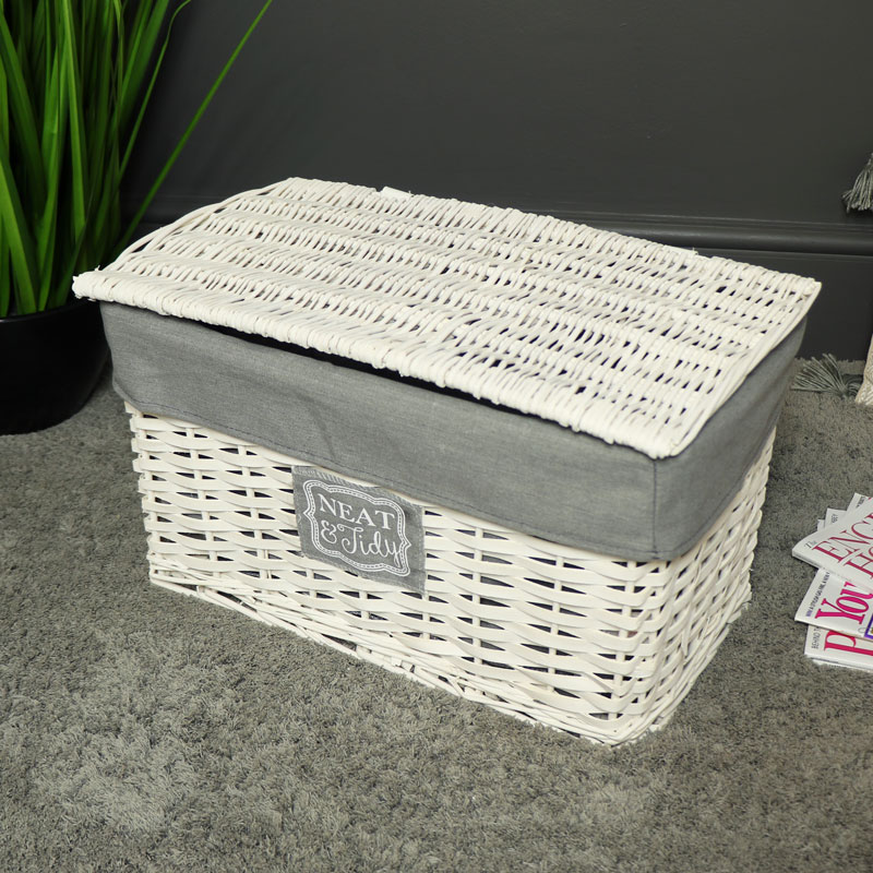 Small White Willow Wicker Storage Basket