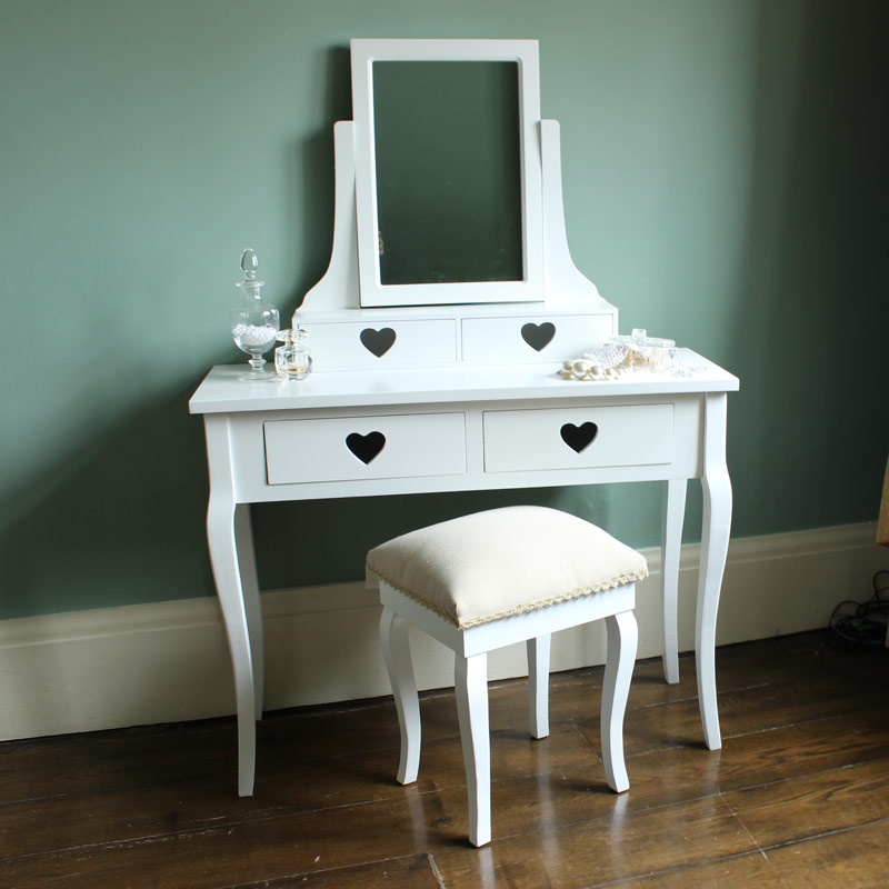 White dressing table mirror stool set heart girls bedroom for Range dressing table