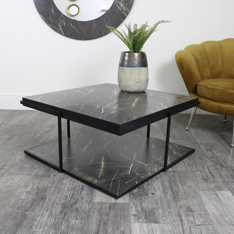 Square Black Marble Coffee Table