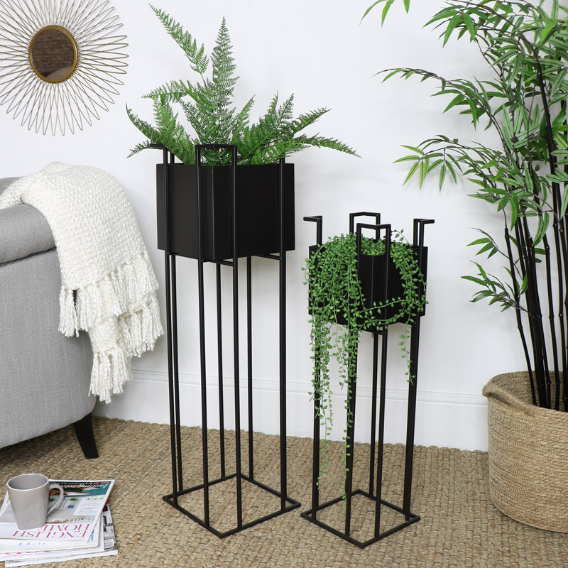 Pair Square Black Metal Planter Stands