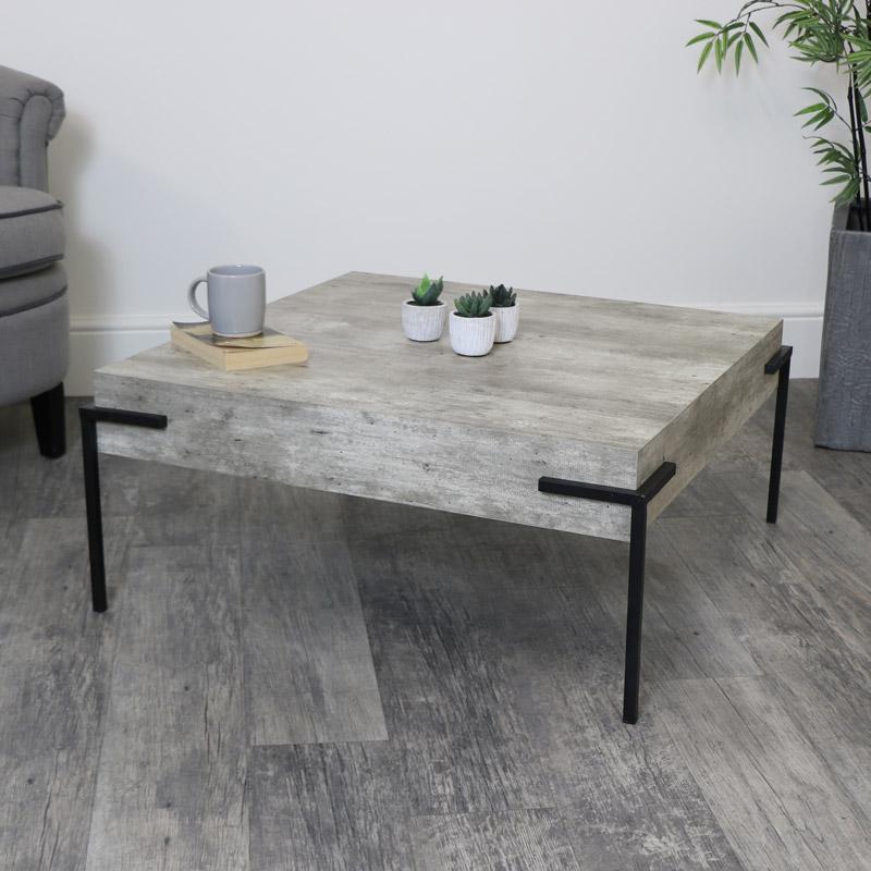 Square Concrete Effect Coffee Table