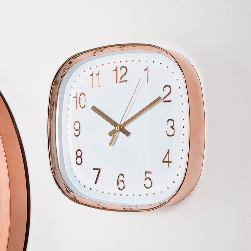 Square Copper Embossed White Wall Clock