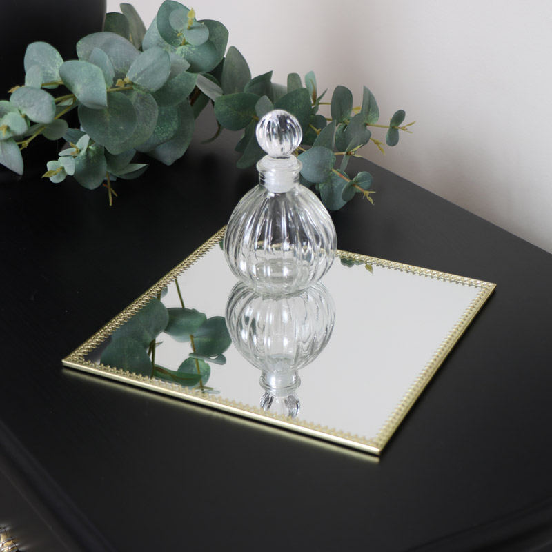 Square Mirrored Gold Display Plate Tray