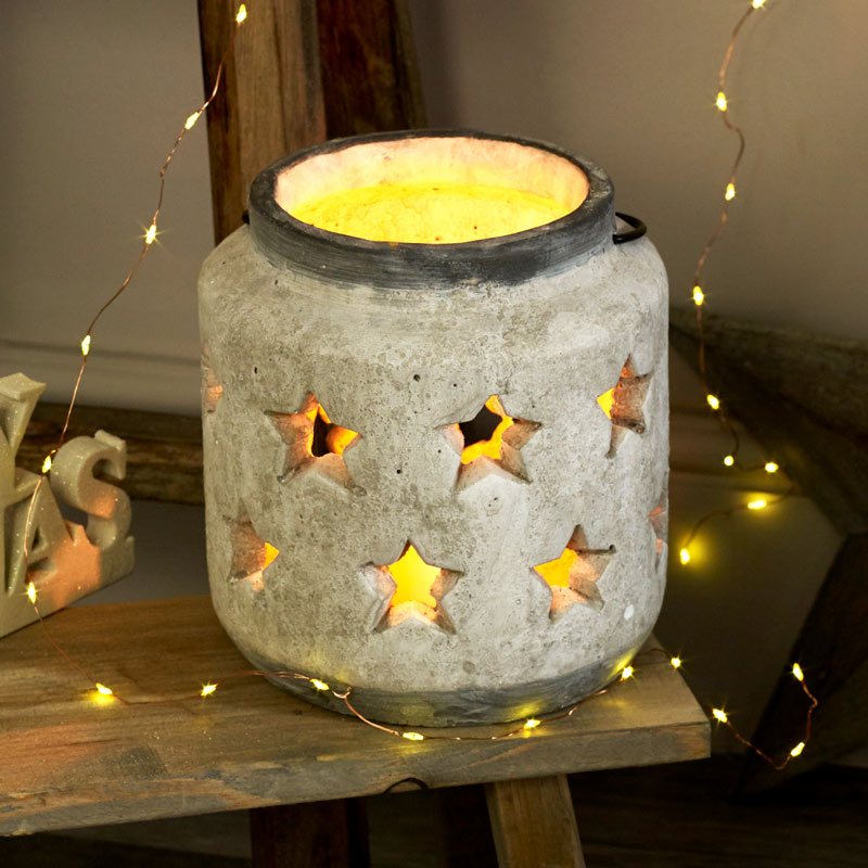 Stone Star Candle Lantern