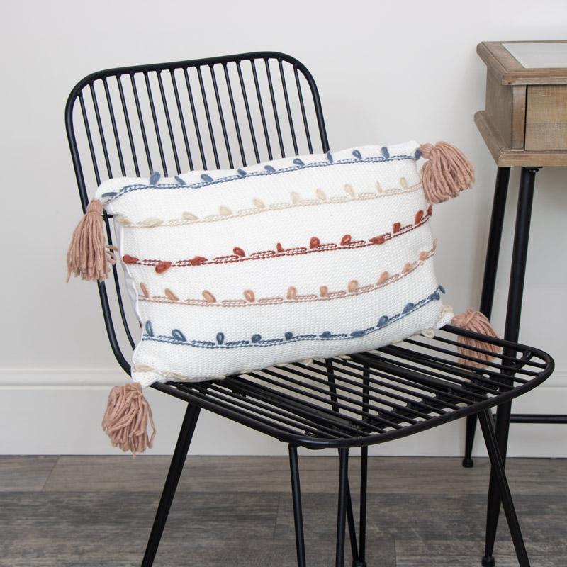Striped Tassel Cushion