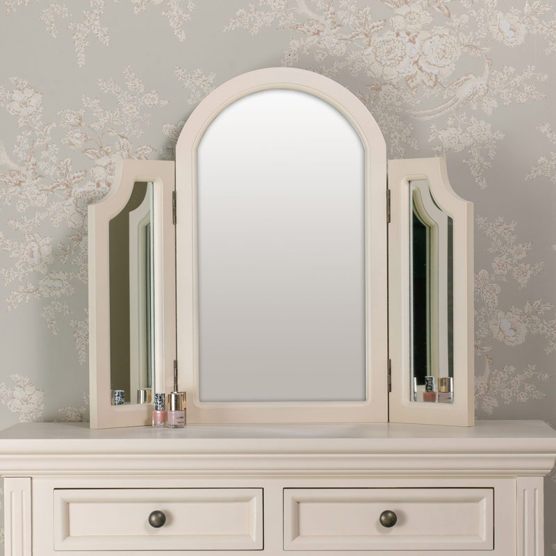 Tabletop Triple Vanity Mirror - Daventry Cream Range