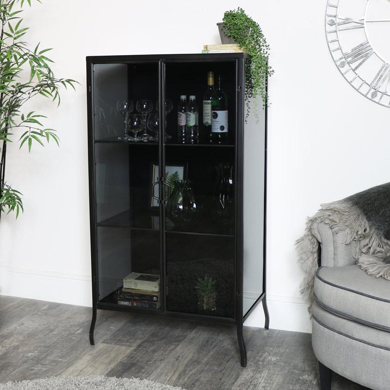 Tall Black Metal & Glass Storage Cabinet