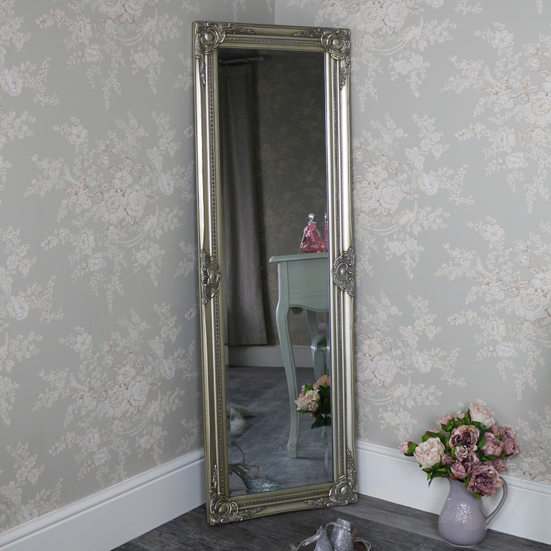 Tall slim champagne gold wall leaner mirror shabby vintage for Tall slim mirror
