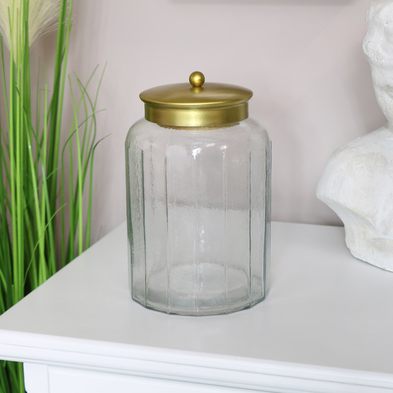 Tall Glass Sweet Jar with Bronze Lid