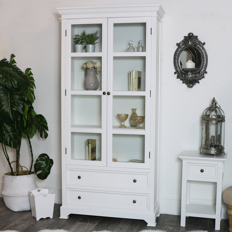 Tall White Glazed Display Cabinet Storage Bookcase Living