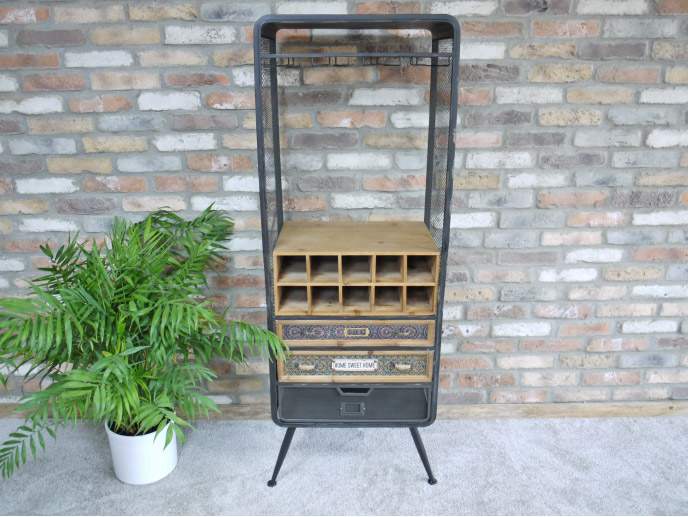 Tall Industrial Style Wine Cabinet Storage