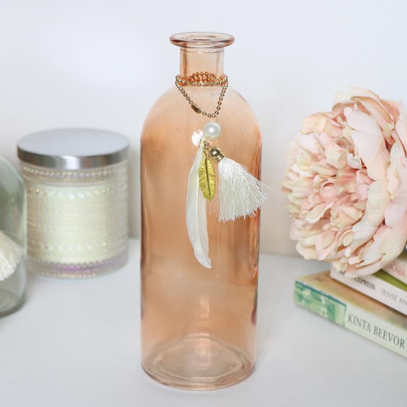 Tall Orange Glass Bottle Vase