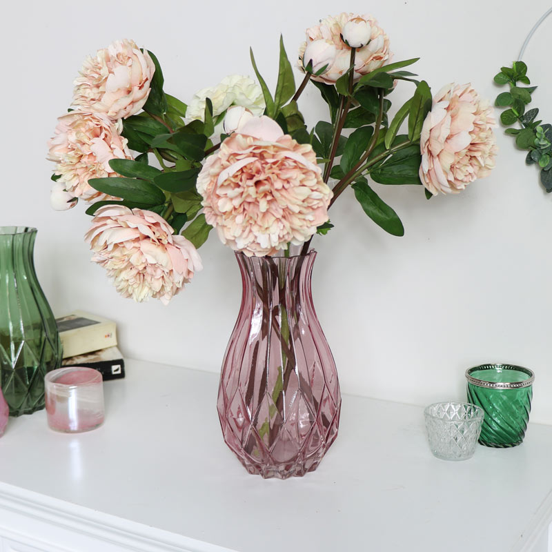 Tall Pink Cut Glass Vase