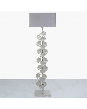 Tall Silver Gingko Leaf Floor Lamp