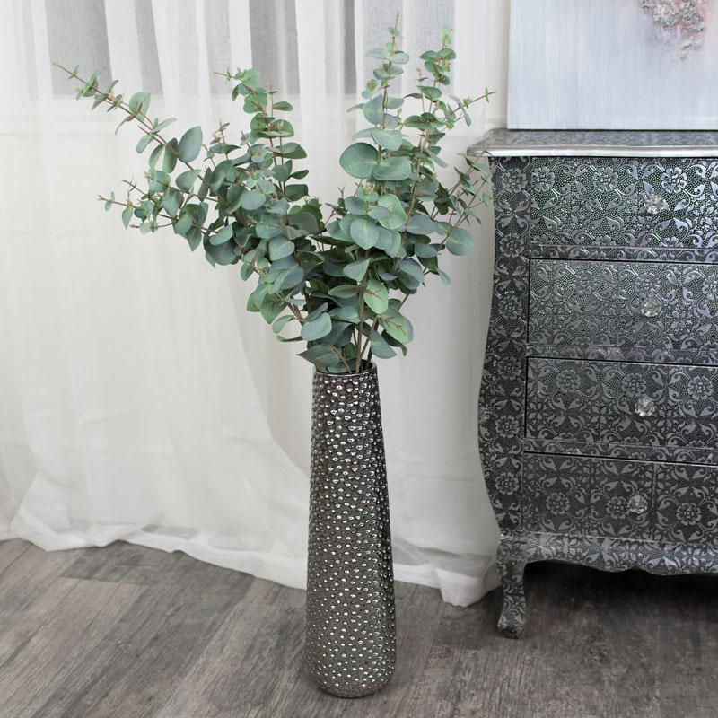 Tall Silver Metallic Hammered Vase