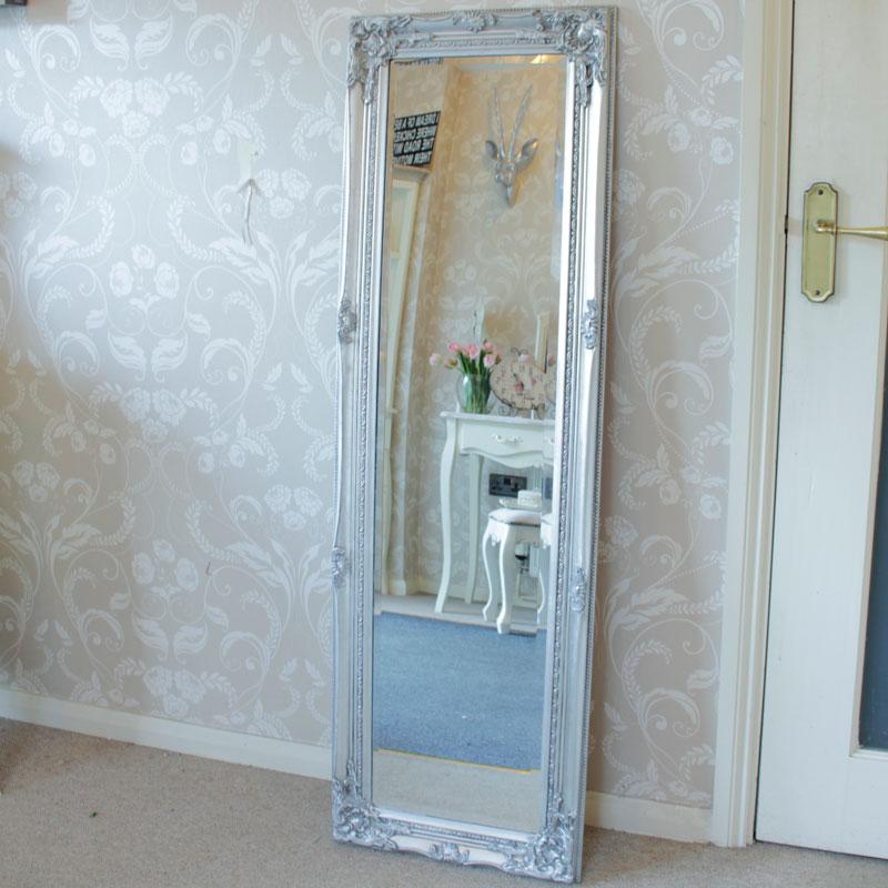 Tall Silver Ornate Mirror 47cm x 142cm